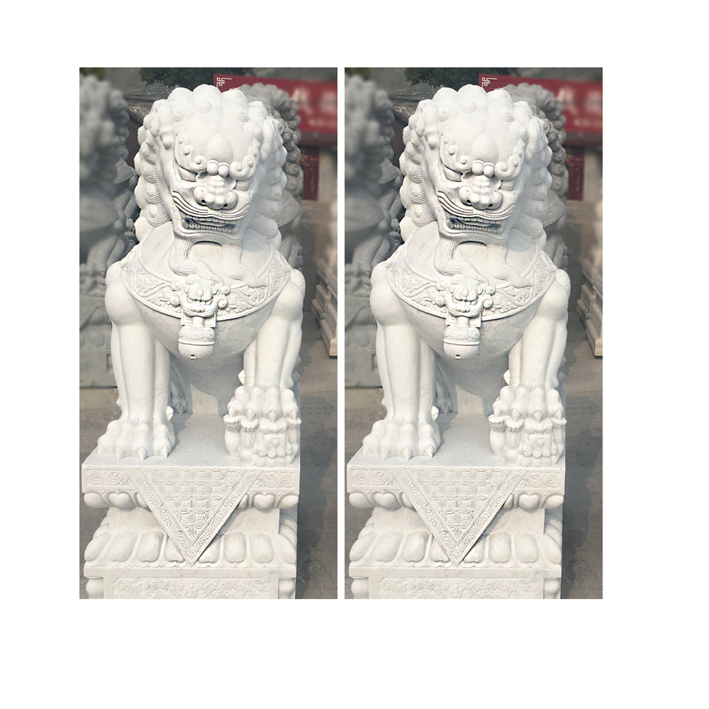 Carved white marble stone lion statues sculptures