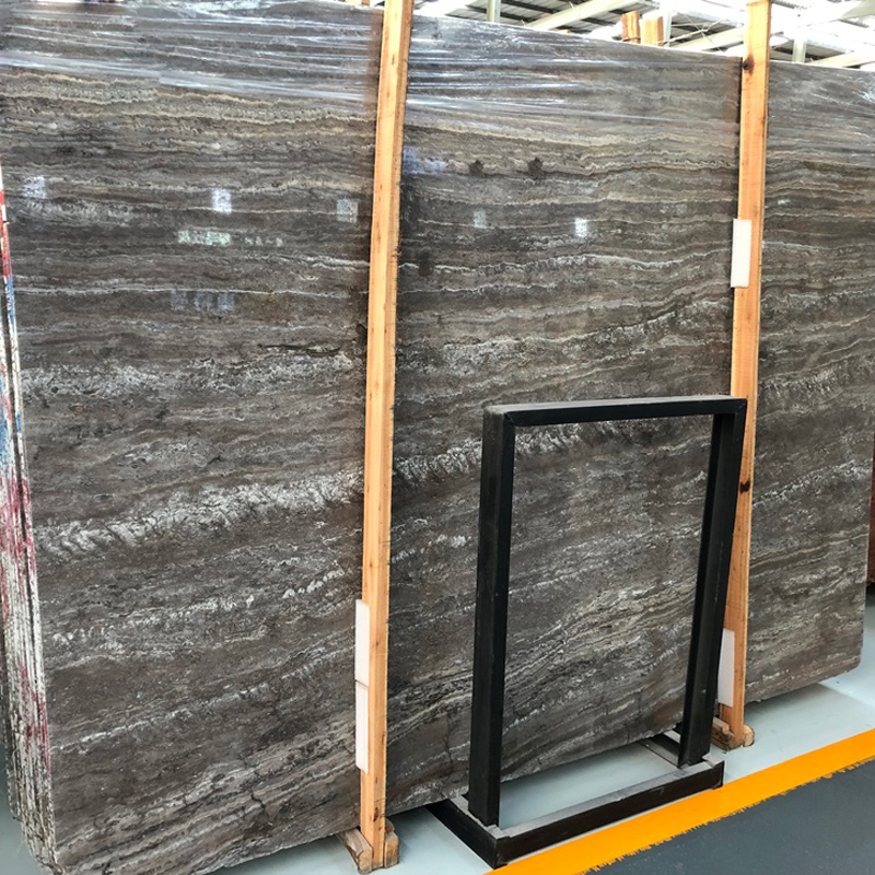 Natural Silver Grey Travertine Marble Slab
